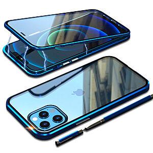 Θήκη iPhone 12 Pro Max LUPHIE Μεταλλική με εσωτερικό μαγνήτη και Premium Tempered Glass διπλής όψης μπλε
