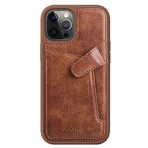 Θήκη iPhone 12 Pro Max NiLLkin Aoge Series πλάτη δερμάτινη με υποδοχή κάρτας και αντικραδασμικό Premium TPU καφέ