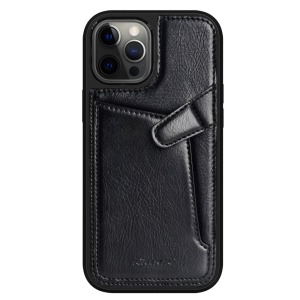 Θήκη iPhone 12 Pro Max NiLLkin Aoge Series πλάτη δερμάτινη με υποδοχή κάρτας και αντικραδασμικό Premium TPU μαύρο