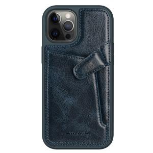 Θήκη iPhone 12 Pro Max NiLLkin Aoge Series πλάτη δερμάτινη με υποδοχή κάρτας και αντικραδασμικό Premium TPU πράσινο