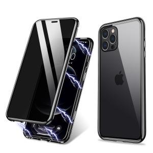 Θήκη iPhone 12 / 12 Pro R-JUST Anti Peep Series με μαγνητικό μεταλλικό πλαίσιο και διπλό Tempered Glass για προστασία 360° μοιρών μαύρο
