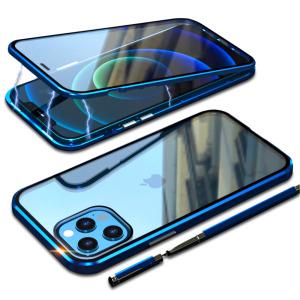 Θήκη iPhone 12 / 12 Pro LUPHIE Μεταλλική με εσωτερικό μαγνήτη και Premium Tempered Glass διπλής όψης μπλε