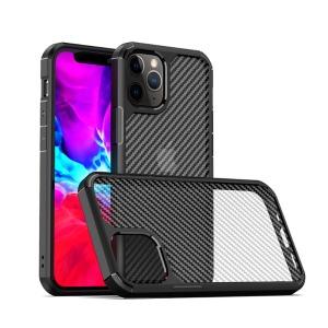 Θήκη iPhone 12 / 12 Pro IPAKY Pioneer Series Carbon fiber πλάτη Hybrid ημιδιάφανη μαύρο