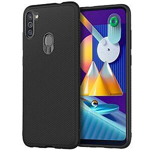 Θήκη Samsung Galaxy M11 OEM Twill Texture Carbon Πλάτη TPU μαύρο