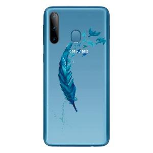 Θήκη Samsung Galaxy M11 OEM σχέδιο Blue feather Πλάτη TPU