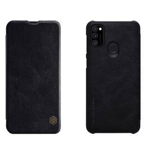 Θήκη Samsung Galaxy M21 NiLLkin Qin Series με υποδοχή για κάρτες Flip Wallet από σκληρό πλαστικό και συνθετικό δέρμα μαύρο