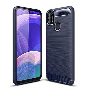 Θήκη Samsung Galaxy M31 OEM Brushed TPU Carbon Πλάτη μπλε σκούρο