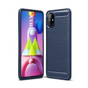 Θήκη Samsung Galaxy M51 OEM Brushed TPU Carbon Πλάτη μπλε σκούρο