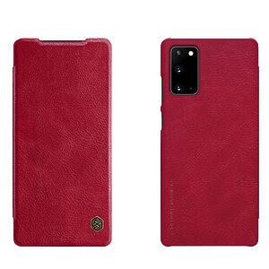 Θήκη Samsung Galaxy Note 20 NiLLkin Qin Series με υποδοχή για κάρτες Flip Wallet από σκληρό πλαστικό και συνθετικό δέρμα κόκκινο