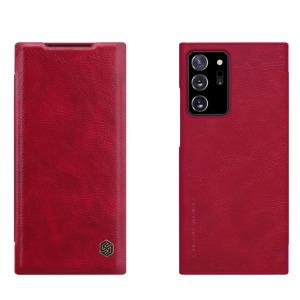 Θήκη Samsung Galaxy Note 20 Ultra NiLLkin Qin Series με υποδοχή για κάρτες Flip Wallet από σκληρό πλαστικό και συνθετικό δέρμα κόκκινο