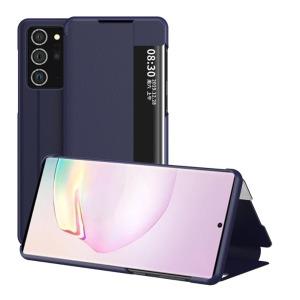 Θήκη Samsung Galaxy Note 20 Ultra OEM Half Mirror Surface View Stand Case Cover Flip Window από συνθετικό δέρμα μπλε