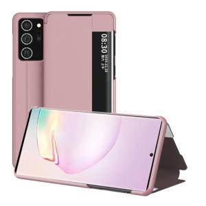 Θήκη Samsung Galaxy Note 20 Ultra OEM Half Mirror Surface View Stand Case Cover Flip Window από συνθετικό δέρμα ροζ