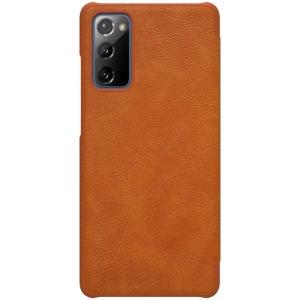 Θήκη Samsung Galaxy S20 FE NiLLkin Qin Series με υποδοχή για κάρτες Flip Wallet από σκληρό πλαστικό και συνθετικό δέρμα καφέ
