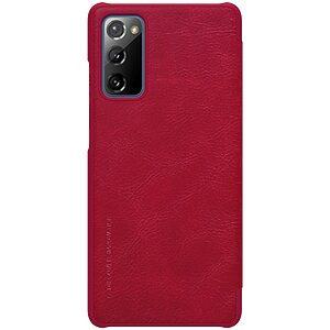 Θήκη Samsung Galaxy S20 FE NiLLkin Qin Series με υποδοχή για κάρτες Flip Wallet από σκληρό πλαστικό και συνθετικό δέρμα κόκκινο
