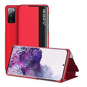 Θήκη Samsung Galaxy S20 FE OEM Half Mirror Surface View Stand Case Cover Flip Window από συνθετικό δέρμα κόκκινο