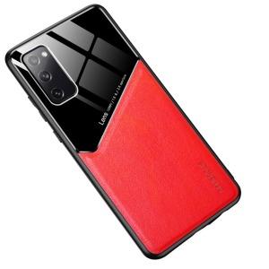 Θήκη Samsung Galaxy S20 FE OEM Magnetic Glass Series πλάτη με ενσωματωμένο μαγνήτη και υποστήριξη μαγνητικής βάσης από συνθετικό δέρμα TPU κόκκινο