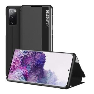 Θήκη Samsung Galaxy S20 FE OEM Half Mirror Surface View Stand Case Cover Flip Window από συνθετικό δέρμα μαύρο