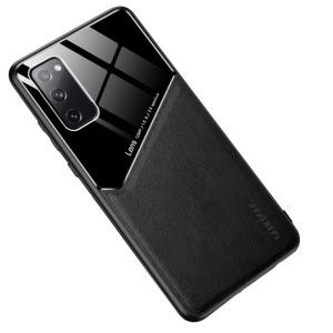 Θήκη Samsung Galaxy S20 FE OEM Magnetic Glass Series πλάτη με ενσωματωμένο μαγνήτη και υποστήριξη μαγνητικής βάσης από συνθετικό δέρμα TPU μαύρο