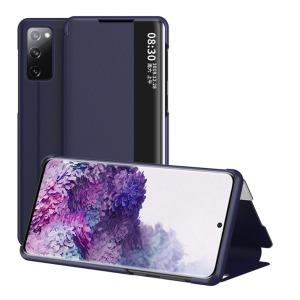 Θήκη Samsung Galaxy S20 FE OEM Half Mirror Surface View Stand Case Cover Flip Window από συνθετικό δέρμα μπλε