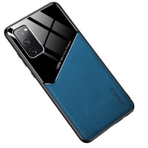 Θήκη Samsung Galaxy S20 FE OEM Magnetic Glass Series πλάτη με ενσωματωμένο μαγνήτη και υποστήριξη μαγνητικής βάσης από συνθετικό δέρμα TPU μπλε