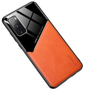 Θήκη Samsung Galaxy S20 FE OEM Magnetic Glass Series πλάτη με ενσωματωμένο μαγνήτη και υποστήριξη μαγνητικής βάσης από συνθετικό δέρμα TPU πορτοκαλί