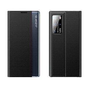 Θήκη Xiaomi Mi 10T / Mi 10T Pro OEM Half Mirror Active Smart View Stand Cover με μαγνητικό κούμπωμα από συνθετικό δέρμα μαύρο