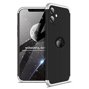 Θήκη GKK Full body Protection 360° από σκληρό πλαστικό για iPhone 12 μαύρο / ασημί