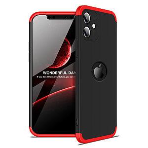 Θήκη GKK Full body Protection 360° από σκληρό πλαστικό για iPhone 12 μαύρο / κόκκινο