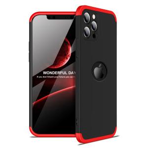 Θήκη GKK Full body Protection 360° από σκληρό πλαστικό για iPhone 12 Pro μαύρο / κόκκινο