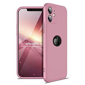 Θήκη GKK Full body Protection 360° από σκληρό πλαστικό για iPhone 12 ροζ χρυσό