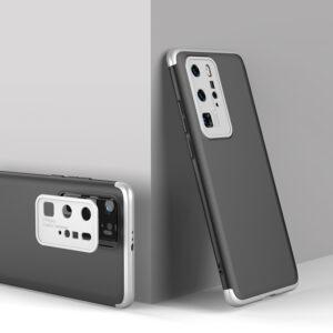 Θήκη GKK Full body Protection 360° από σκληρό πλαστικό για Huawei P40 Pro μαύρο / ασημί