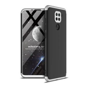 Θήκη GKK Full body Protection 360° από σκληρό πλαστικό για Xiaomi Redmi Note 9 μαύρο / ασημί