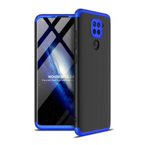 Θήκη GKK Full body Protection 360° από σκληρό πλαστικό για Xiaomi Redmi Note 9 μαύρο / μπλε