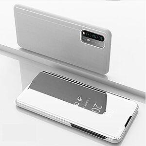 Θήκη Xiaomi Poco M3 OEM Mirror Surface Series Flip Window δερματίνη ασημί