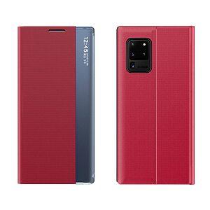 Θήκη Xiaomi Poco M3 OEM Half Mirror Active Smart View Stand Cover με μαγνητικό κούμπωμα από συνθετικό δέρμα κόκκινο