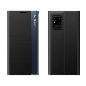 Θήκη Xiaomi Poco M3 OEM Half Mirror Active Smart View Stand Cover με μαγνητικό κούμπωμα από συνθετικό δέρμα μαύρο