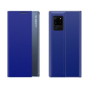Θήκη Xiaomi Poco M3 OEM Half Mirror Active Smart View Stand Cover με μαγνητικό κούμπωμα από συνθετικό δέρμα μπλε