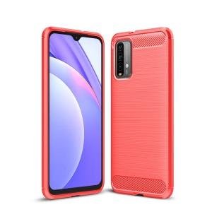 Θήκη Xiaomi Poco M3 OEM Brushed TPU Carbon Πλάτη κόκκινο ανοιχτό