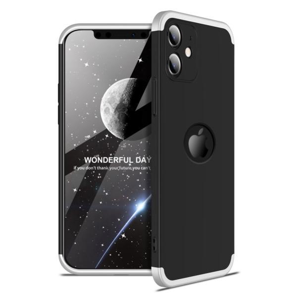 Θήκη GKK Full body Protection 360° από σκληρό πλαστικό για iPhone 12 mini μαύρο / ασημί