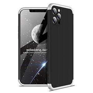 Θήκη GKK Full body Protection 360° από σκληρό πλαστικό για iPhone 12 Pro Max μαύρο / ασημί