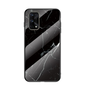 Θήκη Realme 7 Pro OEM σχέδιο Marble με Πλάτη Tempered Glass TPU μαύρο