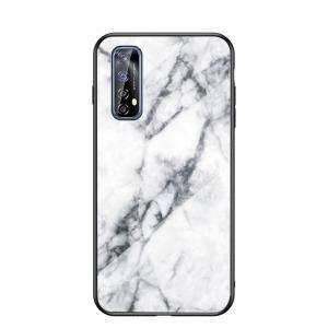 Θήκη Realme 7 OEM σχέδιο Marble με Πλάτη Tempered Glass TPU λευκό