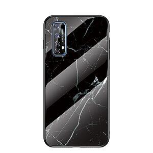 Θήκη Realme 7 OEM σχέδιο Marble με Πλάτη Tempered Glass TPU μαύρο