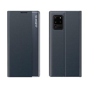 Θήκη Samsung Galaxy A02S OEM Half Mirror Active Smart View Stand Cover με μαγνητικό κούμπωμα από συνθετικό δέρμα μπλε