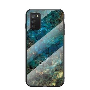 Θήκη Samsung Galaxy A02S OEM σχέδιο Marble με Πλάτη Tempered Glass TPU σμαραγδί