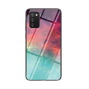 Θήκη Samsung Galaxy A02S OEM σχέδιο Colorful Sky με πλάτη από Tempered Glass και εσωτερικό TPU