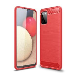 Θήκη Samsung Galaxy A02S OEM Brushed TPU Carbon Πλάτη κόκκινο ανοιχτό