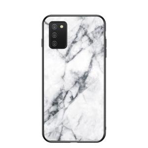 Θήκη Samsung Galaxy A02S OEM σχέδιο Marble με Πλάτη Tempered Glass TPU λευκό