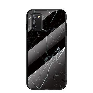 Θήκη Samsung Galaxy A02S OEM σχέδιο Marble με Πλάτη Tempered Glass TPU μαύρο