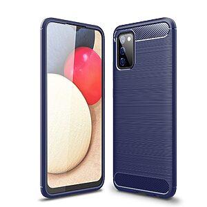 Θήκη Samsung Galaxy A02S OEM Brushed TPU Carbon Πλάτη μπλε σκούρο
